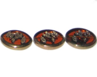 24 x 20mm Deep Gold Vintage-Style Etched Glass Bead, approx. 3 beads