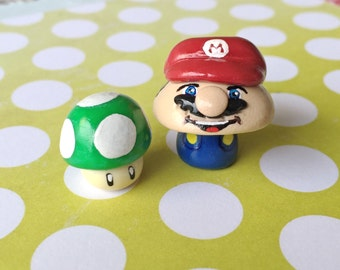 OOAK Nintendo Super Mario Brothers Mario OR Luigi - Mini Character Pop Culture 'Shroom - Handpainted Polymer Clay Miniature Sculpture