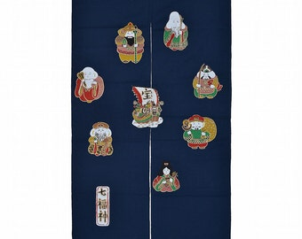Made in Japan Cotton Cloth Noren Tapestry Seven Deities of Good Fortune