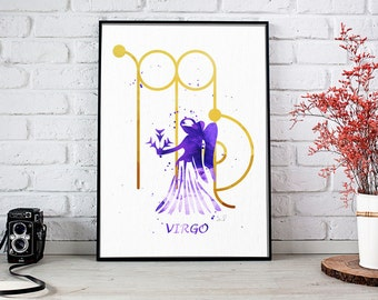 Watercolor Virgo Print, Virgo Zodiac, Virgo Sign Print, Virgo Art Print, Virgo Gifts, Birthday Gift, Zodiac Print, Zodiac Sign, Astrology