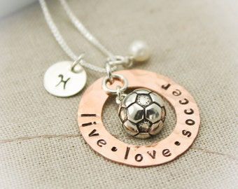 Soccer Charm Necklace Copper Washer and Sterling Silver Personalized Hand Stamped Necklace