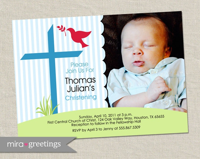Cross Baptism Invitation - Printable Digital File