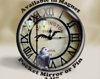 Fantasy Clock Magnet, Dark Fantasy Clock, Night Fantasy Clock, Clock Pocket Mirror, 2.25 Inch Clock Pin, Gothic Style
