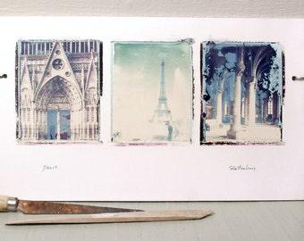 SALE.  Paris.  France.  Vintage Travel Photographs.  Polaroid Transfers Printed on Hand-Built Ceramic Slab.