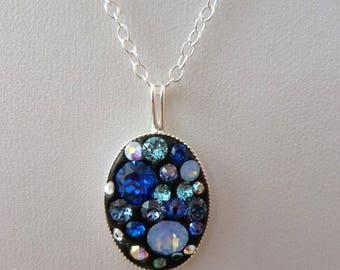 Blue Swarovski pendant. Sterling Silver Necklace. Gift for women. Swarovski Elements. Oval pendant. 925 Sterling. Pendant necklace.