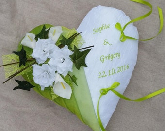 Heart, green wedding pillow ring bearer embroidered anise, personalized ring bearer pillow, nature, country theme Whoopsidaisies