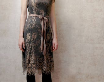Vintage style lace dress in green and gold