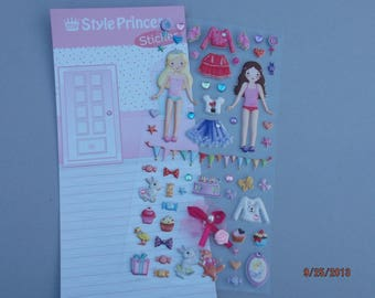 set of stickers stickers dolls with their clothes, accessories