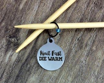 Knit Progress Marker, Gift for Knitter, Knit Fast Die Warm Crochet Stitch Marker, Stitch Marker, Removable, Zipper Pull