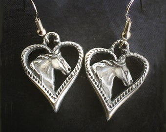 Horse Earrings, Gypsy Hearts in mirror polished pewter, hypo-allergenic drop wires