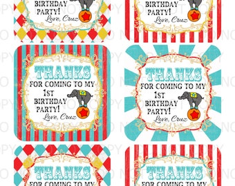 Printable DIY Personalized Circus Carnival Birthday Party Favor Bag Thank You Tags