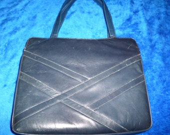 Blue leather handbag by John Hort a169