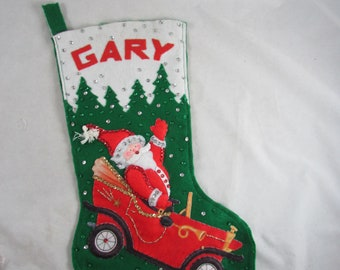 GARY Name Felt Christmas Stocking Santa in Car Sequins Finished Handsewn Complete