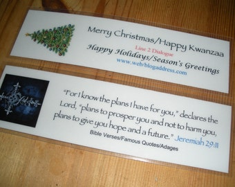 Custom Bookmarks w/ Famous Quotes, Bible Verses, Group Motto, etc. (Quantity of 4)