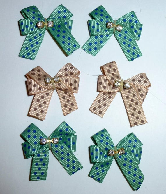Puppy Bows ~6 teal brown  EVERYDAY BOWS Yorkie Maltese Shih Tzu ~Usa seller (fb81)