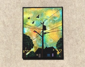 We Three Fly Away Free 11x14 inches, original sewn fabric artwork, handmade, freehand appliqué, ready to hang canvas