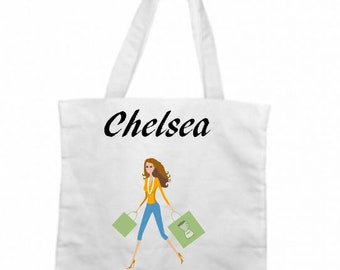 Personalised Shopping Bag - Retail Accessories For Women - Retail Therapy For Her - Shopping Accessories - Canvas Bag - White Tote