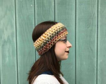 Ready to ship crochet multicolor headband, reversible crochet head warmer, crochet ear warmer, headband woman, crochet chunky headband