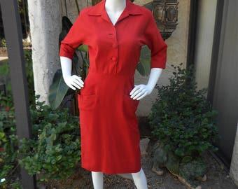 Vintage 1950's Dark Orange Dress - Size 6