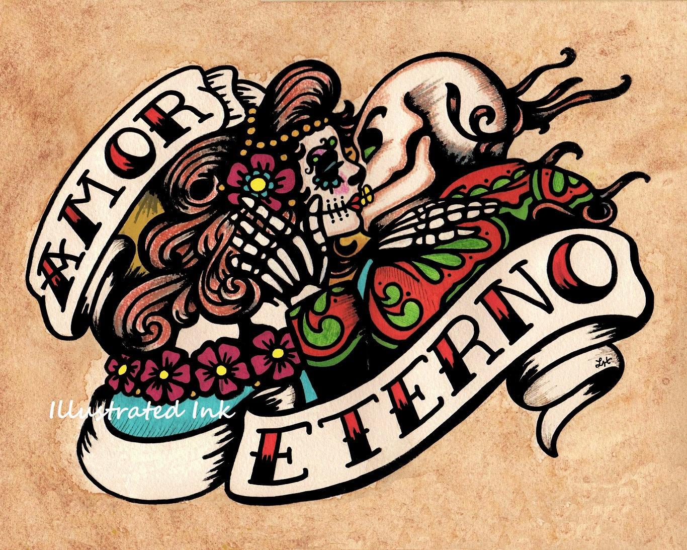 Dia De Los Muertos AMOR ETERNO Day Of The Dead Art Print 8 X