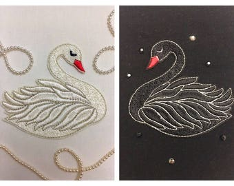 Machine Embroidery Design Swan Shadoof Custom Apparel Fashion embroidery Animal Embroidery Pattern