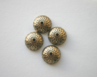 4 Brass Acorn Bead Caps in Antiqued  Gold - Made in USA