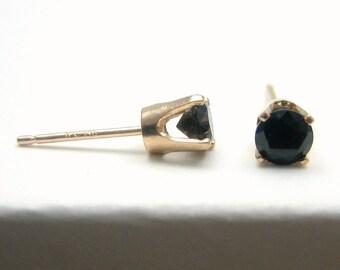 Black Spinel 14K Gold Stud Earrings - Solid 14K Gold - Gold Earrings - 3 mm - Post Earrings - Black Spinel Earrings