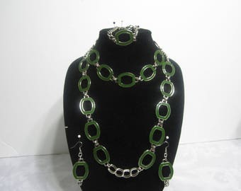 Handmade silver and green vintage Necklace set
