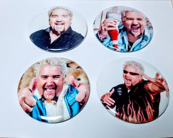 4 Magnet or Button Set:  Guy Fieri Magnets or Pinbacks Get Your Ticket to Flavortown