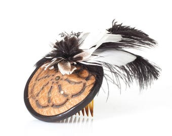 Orbital Leather Fascinator | Bridal Fascinator | Leather Hair Comb | Leather Headpiece | Tan & Black | Feathers | Handmade | Gift for her