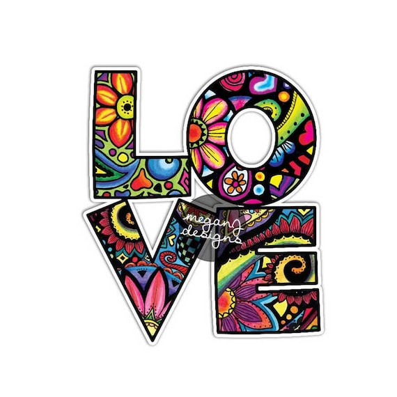 Love car decal colorful design bumper sticker laptop decal