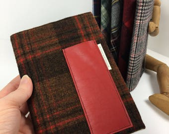 Plaid Composition Book Cover with Pocket Blank Journal Cover Travel Notebook Gift for Him Reusable Book Cover Refillable Bullet Journal MINI