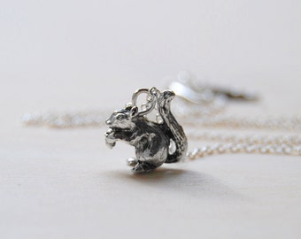 Teeny Tiny Silver Woodland Squirrel Necklace | Cute Woodland Charm Necklace | Forest Animal Necklace