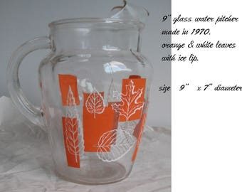 Vintage  Water Pitcher- Orange Squares with Leaves