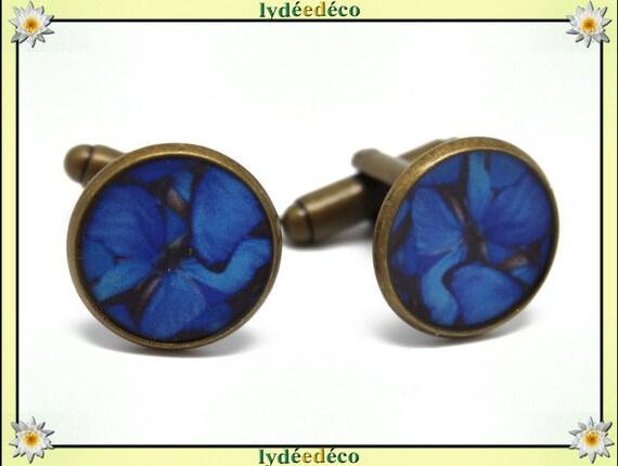 2 suit cuff links retro resin butterflies blue grey night black brass bronze 14mm