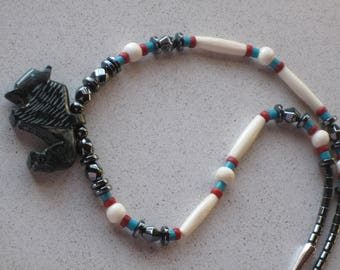 "NEW Hand Carved Black Onyx Buffalo Necklace 20"" Long, Turquoise, Coral, Southwestern, Native American Inspired, Hair Pipe"
