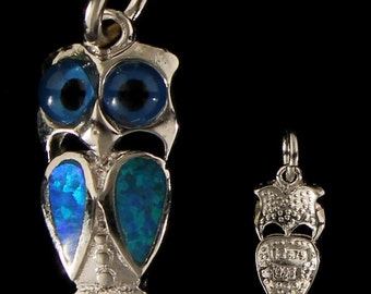 Sterling Silver Pendant - Opal Owl, Greek Wisdom (14mm)