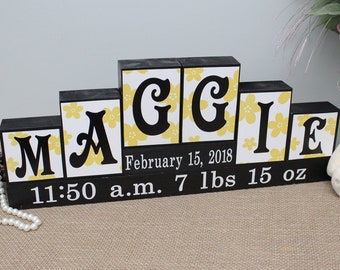 Personalized Baby Name Sign, Name Letter Blocks, Unique Baby Gift, Baby Girl Nursery Decor, Baby Name Decor, Name Sign, 6 Letters First Name