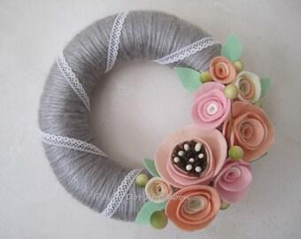 """Pastel Pink Rose Yarn Wreath - 8"""""""