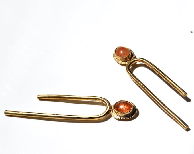 Featured listing image: T I L T // Asymmetrical Sunstone Arc Long Stud Earrings