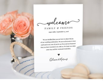 Wedding Welcome Bag Note, Welcome Bag Letter, Printable Wedding Itinerary, Agenda, Instant Download, Fully Editable Template, DIY #030-104WB