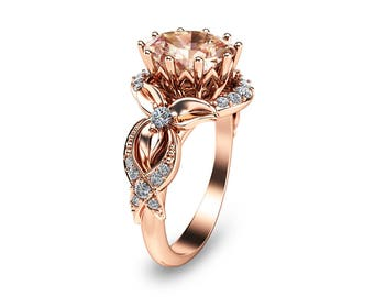 Unique Rose Gold Morganite Ring 14K Rose Gold Engagement Ring Oval Cut Engagement Ring