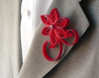 Valentina Wedding, Red Boutonniere, Red Buttonhole, Red Wedding Pinback, Cherry Boutonniere, Red Wedding