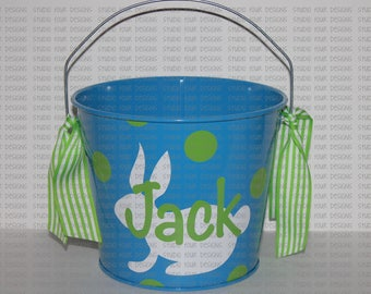 5 QT Personalized Easter Basket/Bucket/Pail - Metal Easter Bucket - Custom Easter Bunny Bucket/Basket - Easter Pail- Assorted Colors/Designs