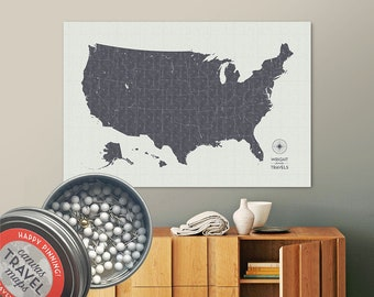 Vintage Push Pin USA Map (Charcoal) Travel Map Push Pin Map Gift Road Trip Map of the USA on Canvas Personalized Gift For Family Name Sign