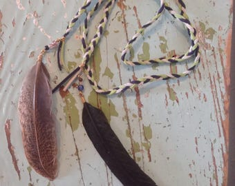 Braided suede headband or necklace with feathers