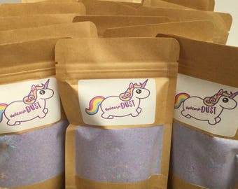 Unicorn bath dust, bath bomb dust party bag gifts, bath bombs for kids, creamy candy scent, 100g pouch.