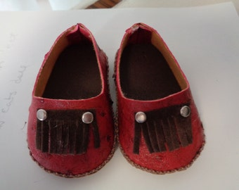 Cherry Faux Leather Shoe Loafers for -18 Inch Doll Shoes- American Girl-Boy Dolls