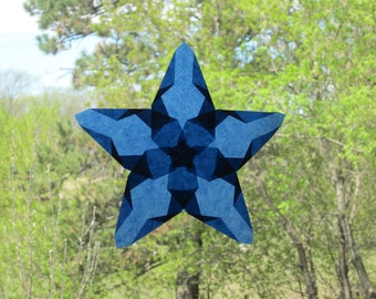 Navy Blue Poppy Window Star Sun Catcher with 5 Points