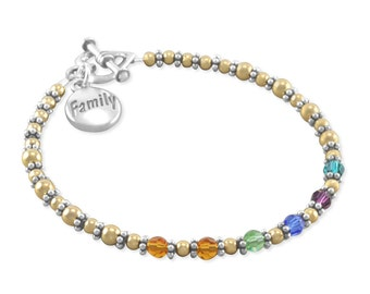 Mother's Day Gifts, Mothers Bracelet, Nana, Birthstone Bracelet. Sterling Silver. Personalized, Birthstones. family, For Mom, Nana, Grandma.